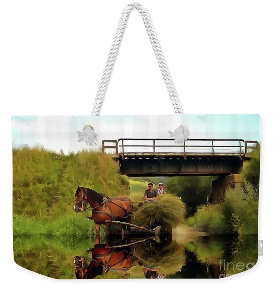 One Brown Horse Transportation Hay On Wooden Cart Weekender Tote Bag