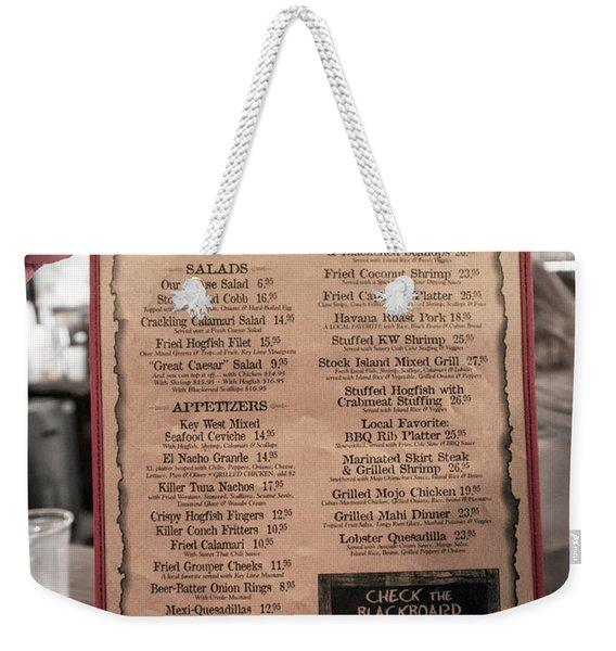 One Good Menu Stock Island Florida Keys Weekender Tote Bag