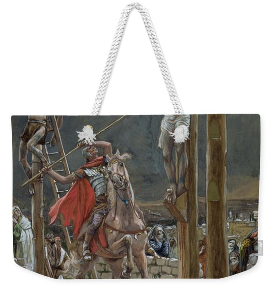 One Of The Soldiers With A Spear Pierced His Side Weekender Tote Bag