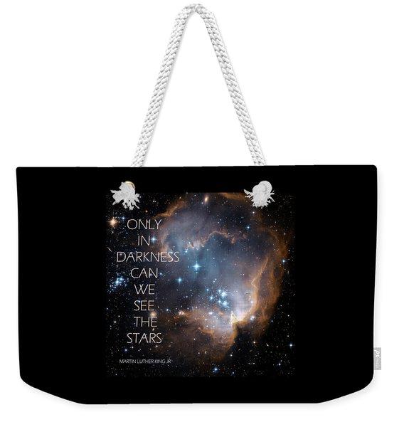 Weekender Tote Bag featuring the digital art Only In Darkness by Lora Serra