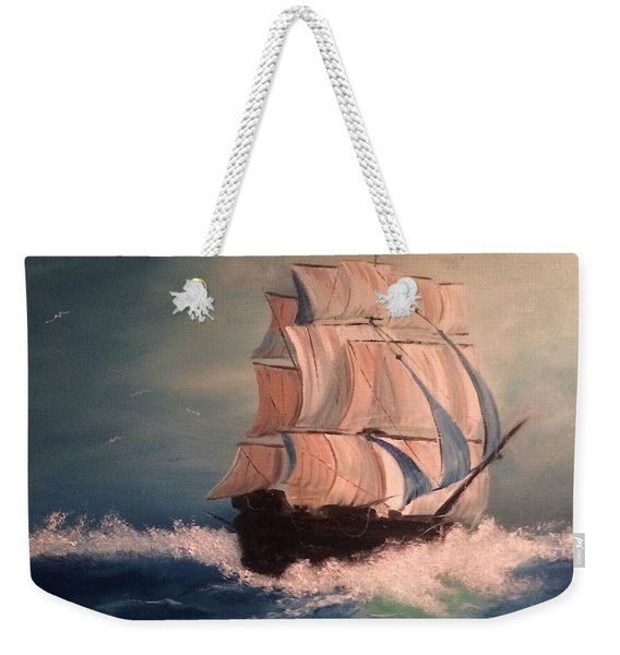Weekender Tote Bag featuring the painting Open Seas by Denise Tomasura