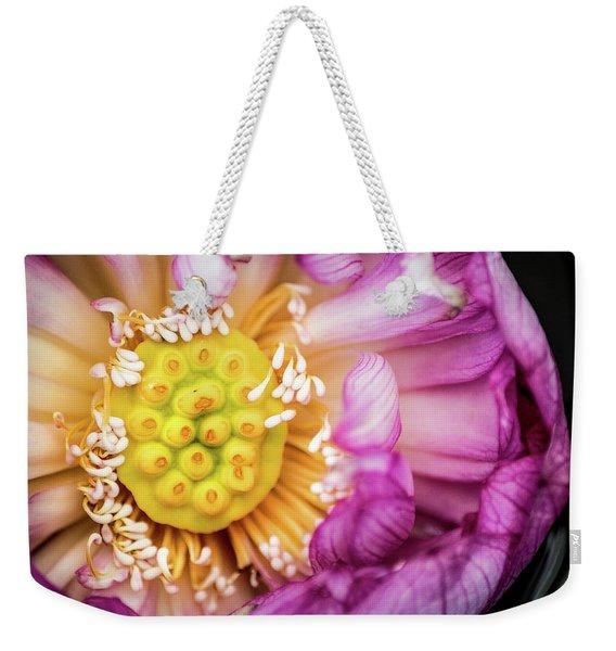 Opening Lotus Pod Weekender Tote Bag