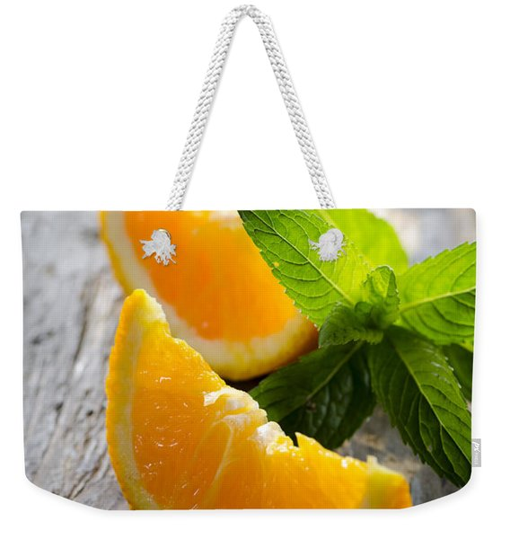 Orange And Mint Weekender Tote Bag