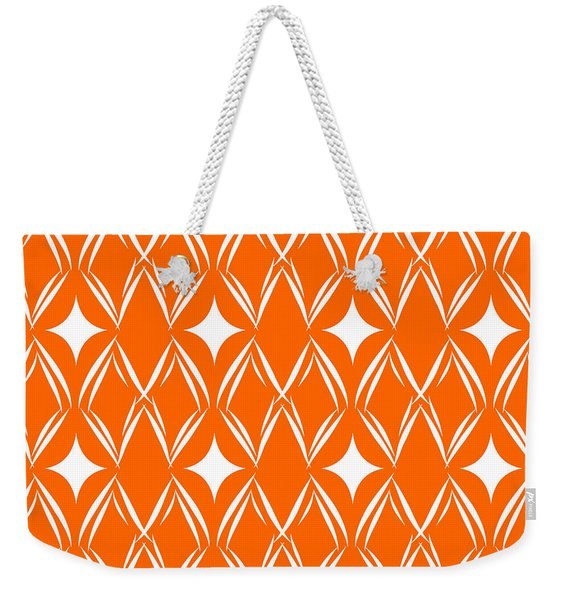 Orange And White Diamonds Weekender Tote Bag