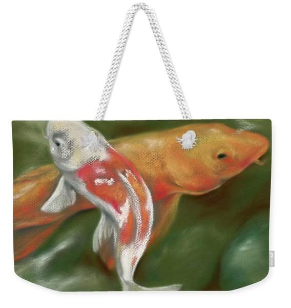 Orange And White Koi With Mossy Stones Weekender Tote Bag