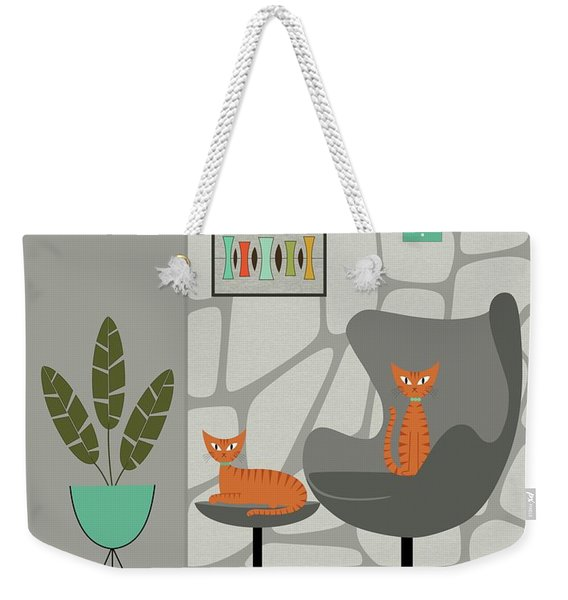 Weekender Tote Bag featuring the digital art Orange Cat In Gray Stone Wall by Donna Mibus