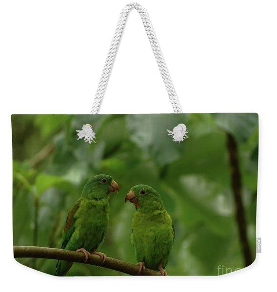 Orange-chinned Parakeets-  Weekender Tote Bag