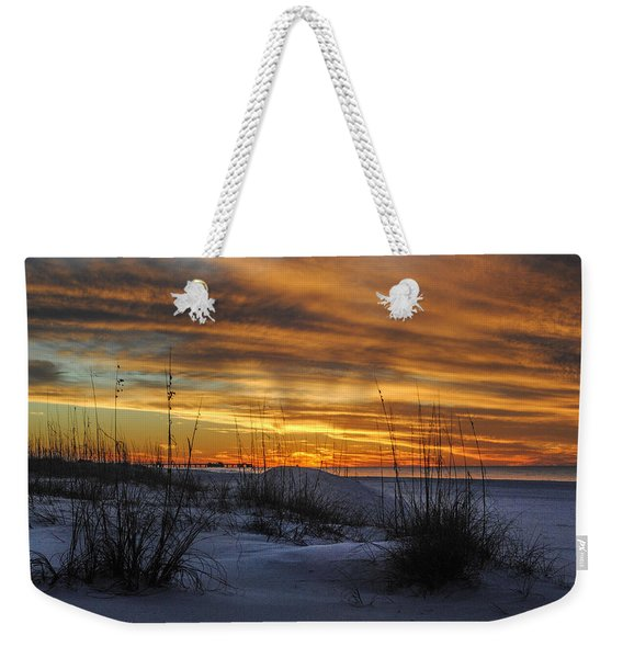 Orange Clouded Sunrise Over The Pier Weekender Tote Bag