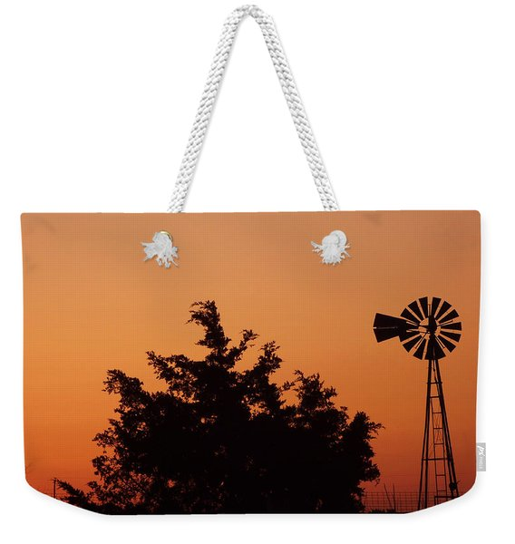 Orange Dawn With Windmill Weekender Tote Bag