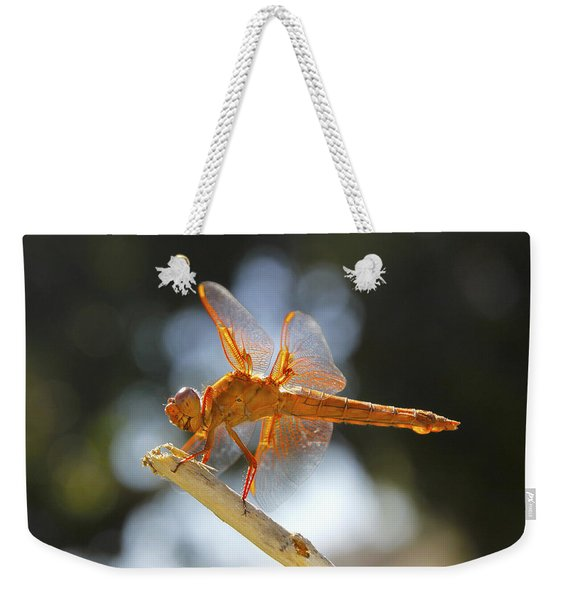 Orange Dragonfly Weekender Tote Bag