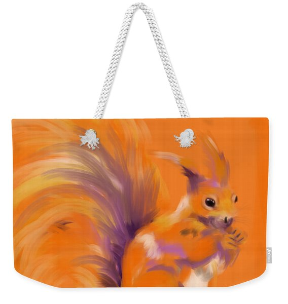 Orange Forest Squirrel Weekender Tote Bag