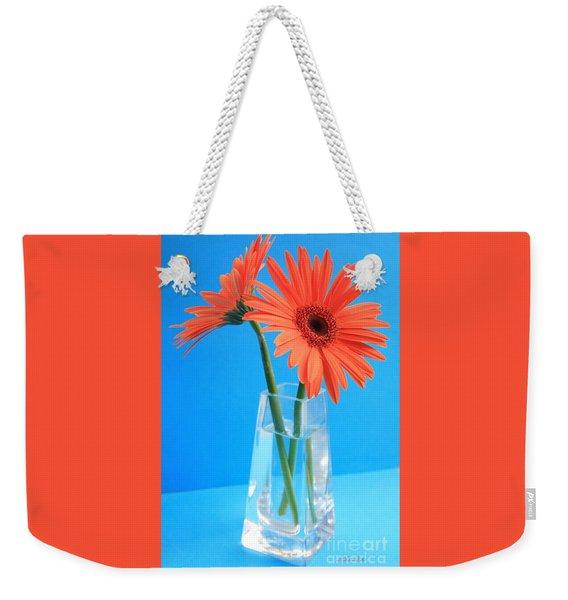 Orange Gerberas In A Vase - Aqua Background Weekender Tote Bag