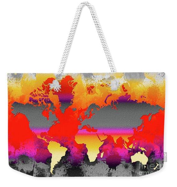 Orange Glow World Map Weekender Tote Bag