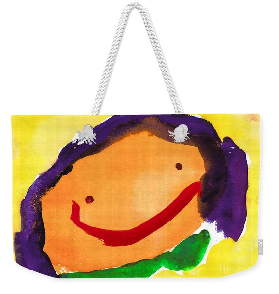 Orange Happy Face Weekender Tote Bag