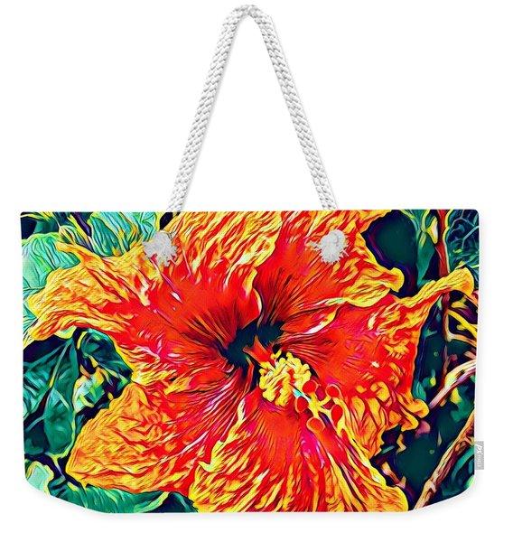 Orange Hibiscus In Crepe - Full View Weekender Tote Bag