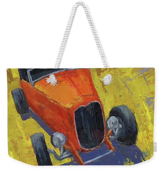 Orange Hot Rod Roadster Weekender Tote Bag