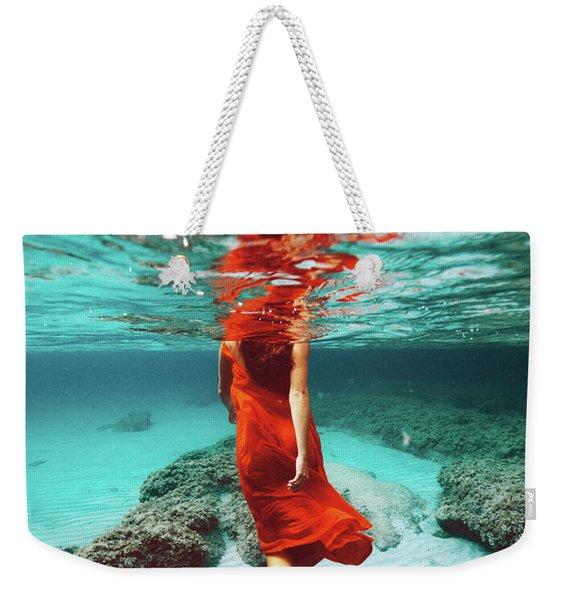 Orange Mermaid Weekender Tote Bag