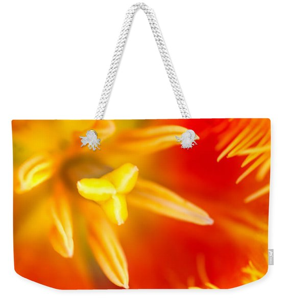 Orange Passion. Tulip Macro Weekender Tote Bag