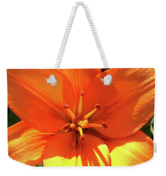 Weekender Tote Bag featuring the photograph Orange Pop by Cris Fulton
