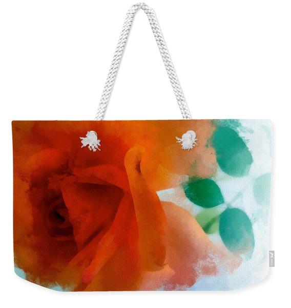 Weekender Tote Bag featuring the digital art Orange Rose by Patricia Strand
