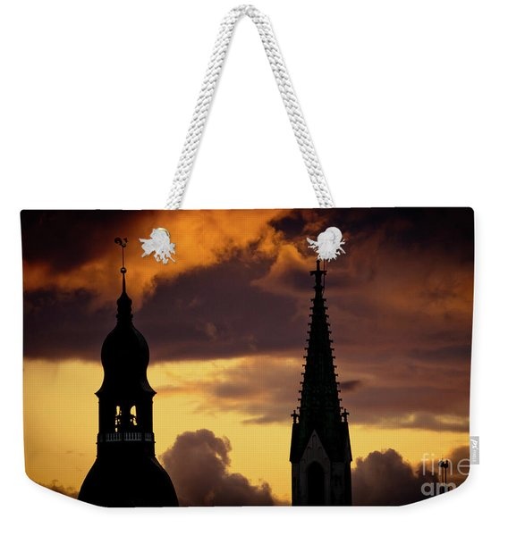 Orange Sunset View In Old Town Riga Artmif Weekender Tote Bag