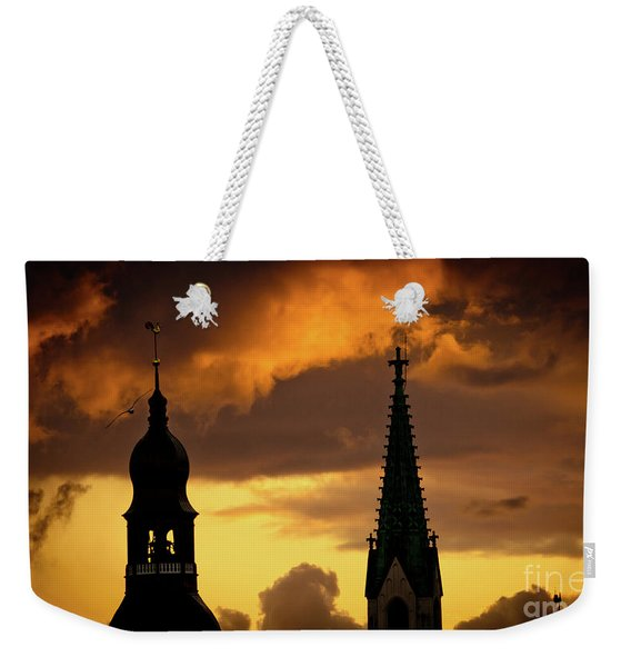 Orange Sunset View In Old Town Riga Weekender Tote Bag