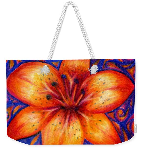 Weekender Tote Bag featuring the drawing Orange Tiger Lily Drawing by Kristin Aquariann