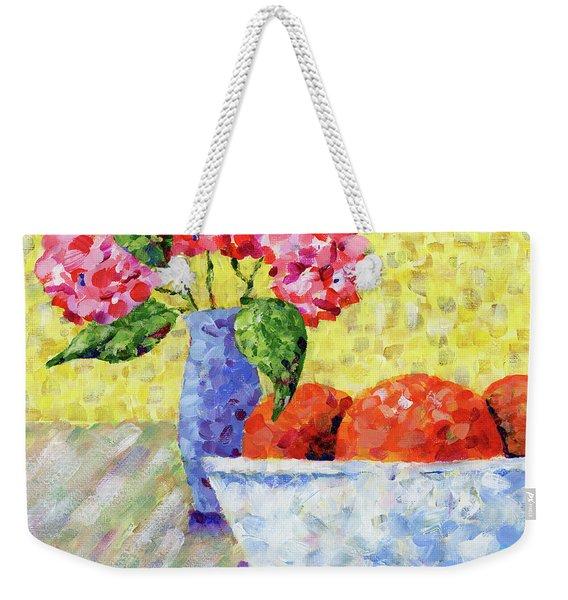 Oranges In Bowl With Flowers Weekender Tote Bag