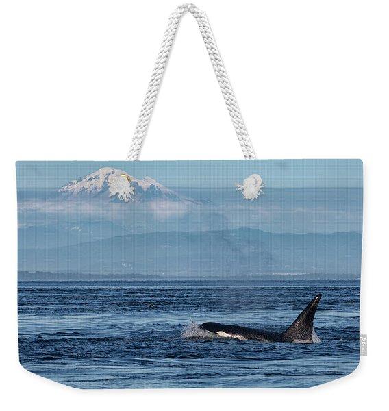 Orca Male With Mt Baker Weekender Tote Bag