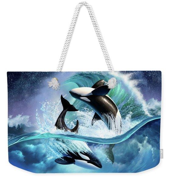 Orca Wave Weekender Tote Bag