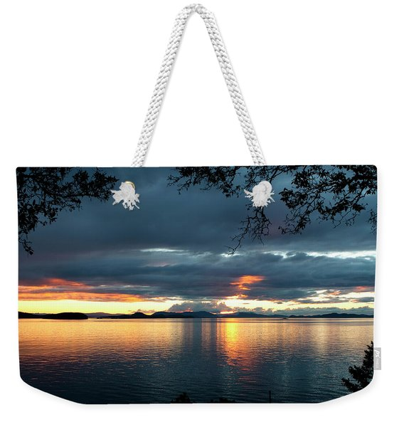 Weekender Tote Bag featuring the photograph Orcas Island Sunset by Lorraine Devon Wilke