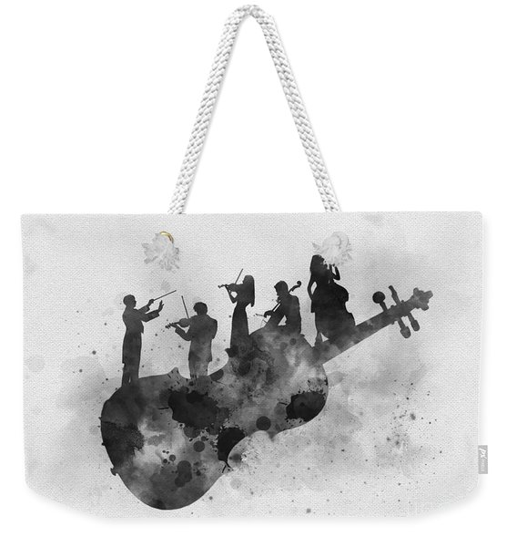 Orchestra Black And White Weekender Tote Bag