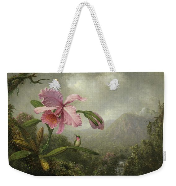 Orchid And Hummingbird Near A Waterfall Weekender Tote Bag