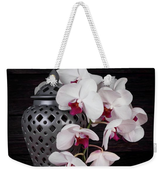 Orchids With Gray Ginger Jar Weekender Tote Bag