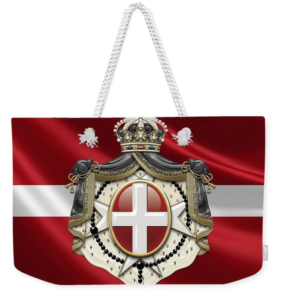 Order Of Malta Coat Of Arms Over Flag Weekender Tote Bag