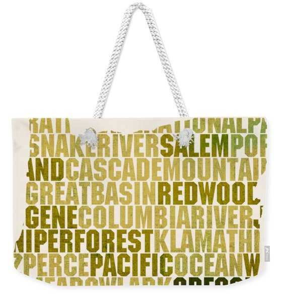 Oregon State Outline Word Map Weekender Tote Bag