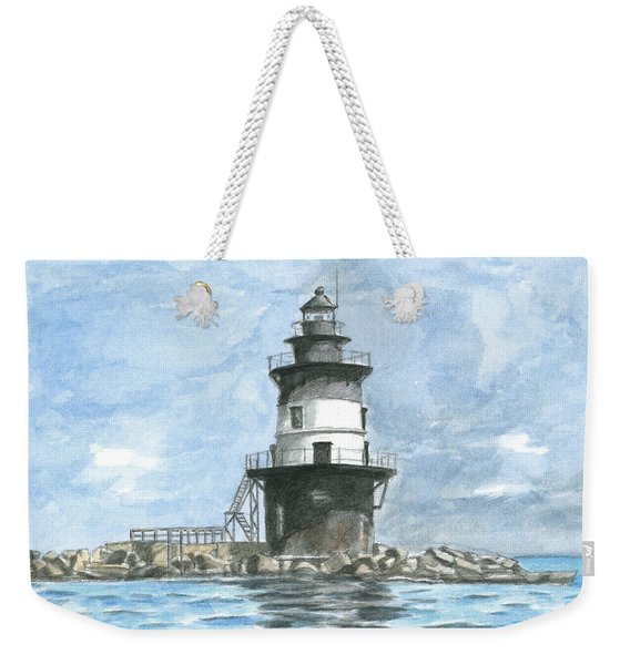 Weekender Tote Bag featuring the painting Orient Point Lighthouse by Dominic White