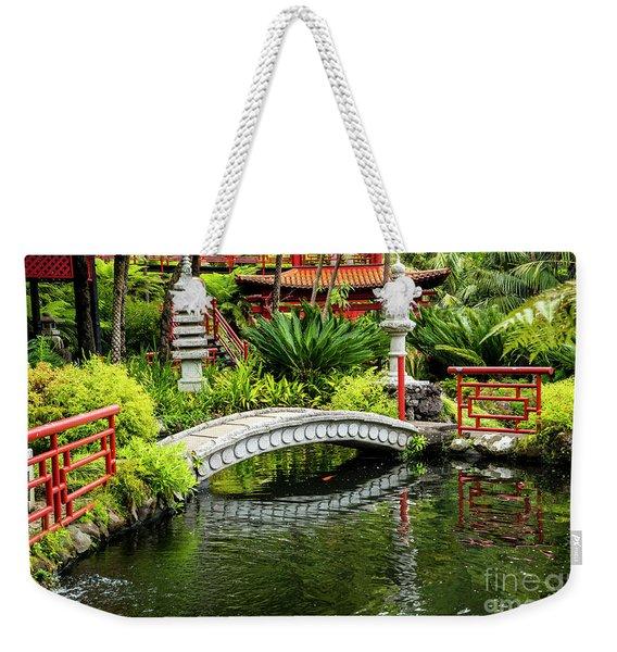 Oriental Bridge In A Tropical Garden Weekender Tote Bag