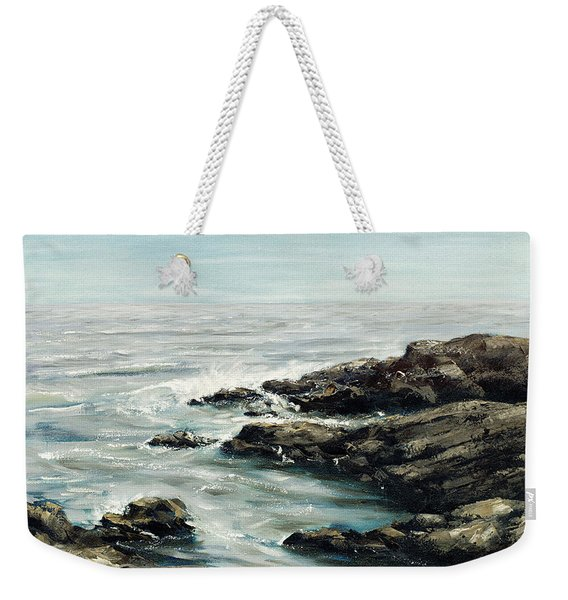 Original Fine Art Painting Bass Rocks Massachusetts Weekender Tote Bag