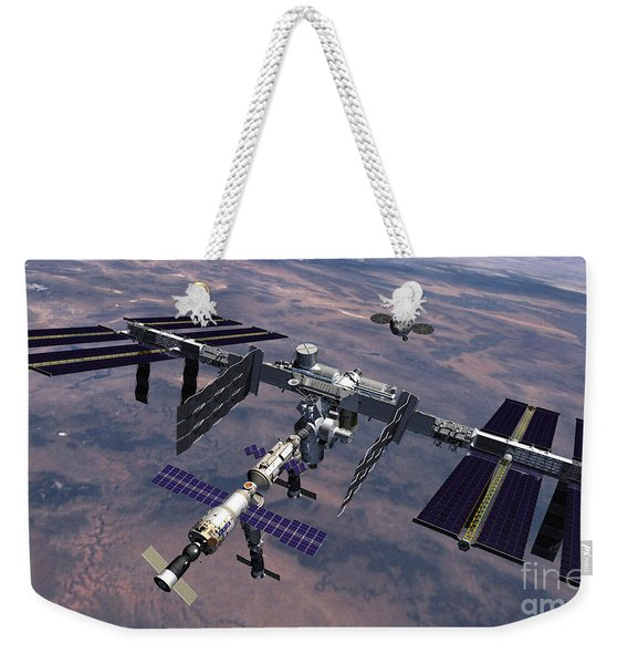 Orion Approaching Iss Weekender Tote Bag