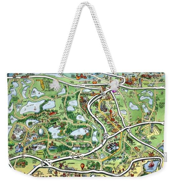 Orlando Florida Cartoon Map Weekender Tote Bag