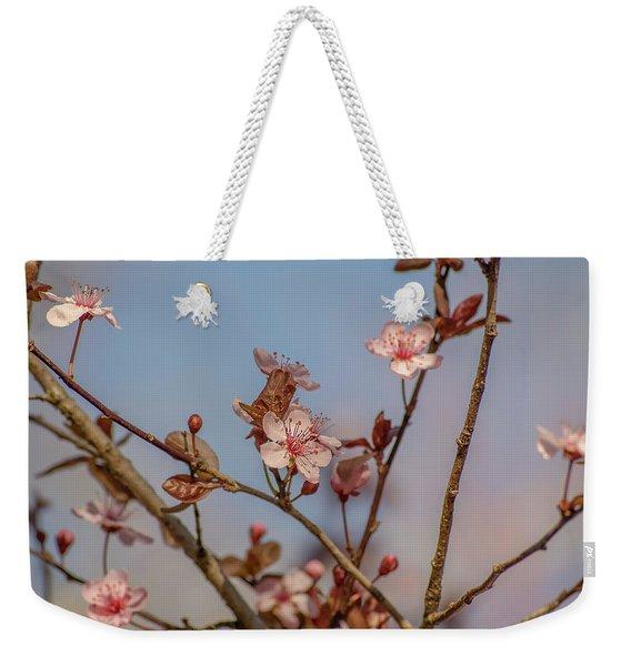 Purple Leaf Sandcherry Blossoms Weekender Tote Bag
