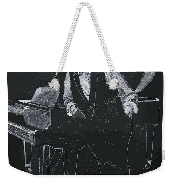 Weekender Tote Bag featuring the painting Oscar Peterson by Richard Le Page