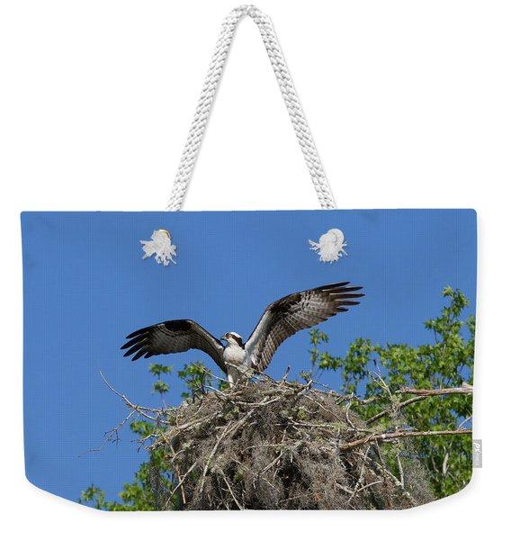 Osprey On Nest Wings Held High Weekender Tote Bag