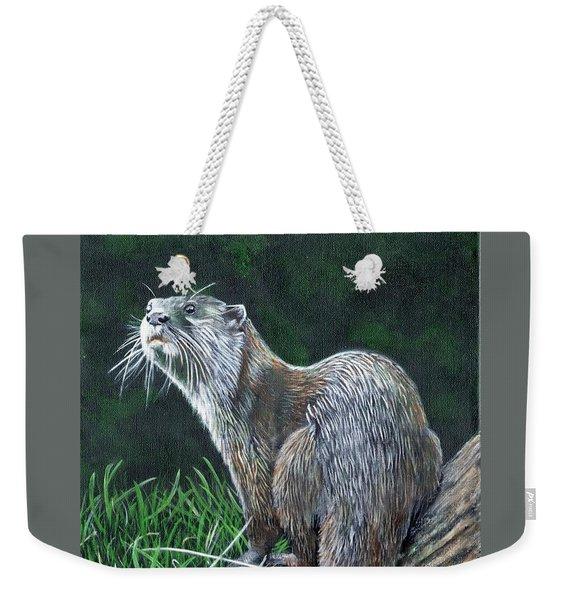 Otter On Branch Weekender Tote Bag