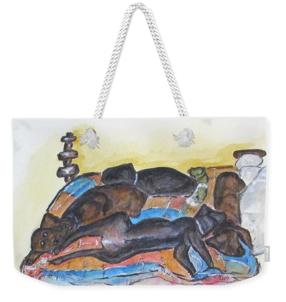 Our Bed Now Weekender Tote Bag