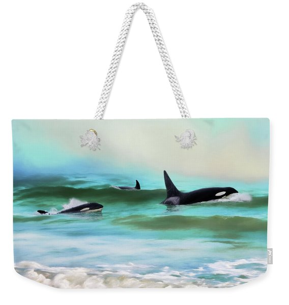 Our Family - Orca Whale Art Weekender Tote Bag