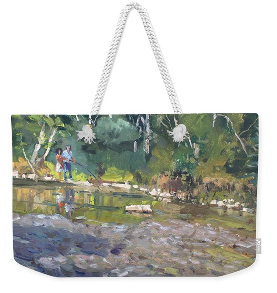 Out Fishing With Viola  Weekender Tote Bag