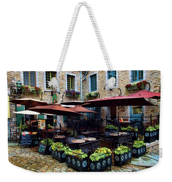 Outdoor French Cafe In Old Quebec City Weekender Tote Bag