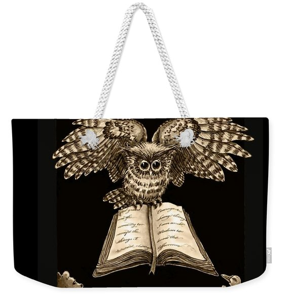 Owl And Friends Sepia Weekender Tote Bag